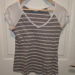 Gray and White Striped Vneck S/M